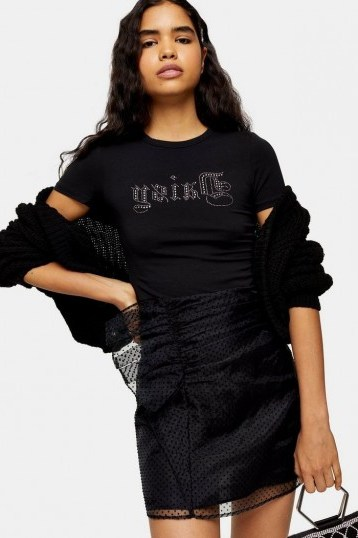 Topshop Black Organza Spot Ruffle Mini Skirt | going out fashion | sheer overlay party skirts - flipped