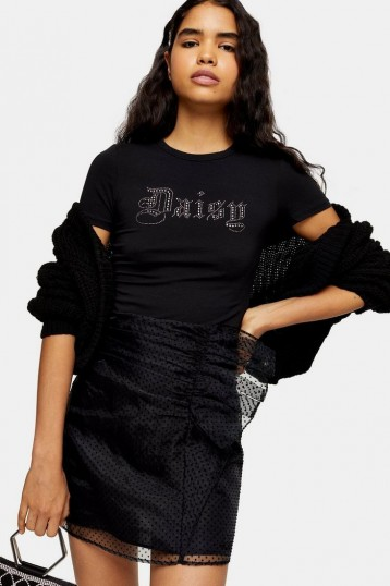 Topshop Black Organza Spot Ruffle Mini Skirt | going out fashion | sheer overlay party skirts