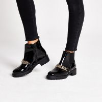 RIVER ISLAND Black patent chunky chain ankle boots