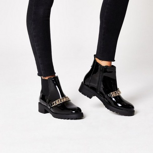 RIVER ISLAND Black patent chunky chain ankle boots - flipped