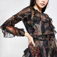 RIVER ISLAND Black printed tie belted frill blouse. RUFFLED METALLIC THREAD BLOUSES