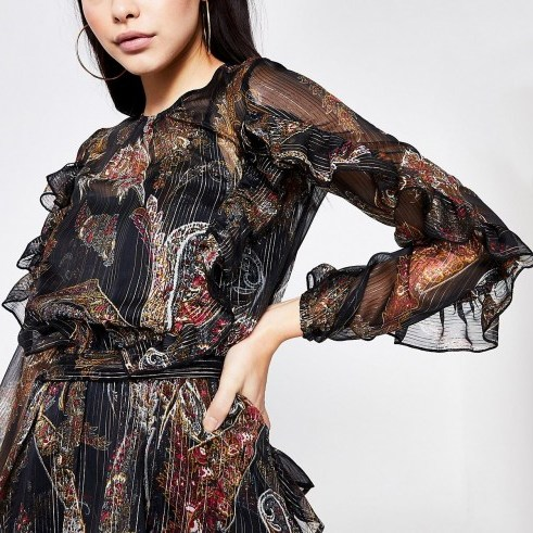 RIVER ISLAND Black printed tie belted frill blouse. RUFFLED METALLIC THREAD BLOUSES - flipped