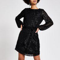 TOPSHOP Black sequin embellished tie waist dress / lbd / party dresses