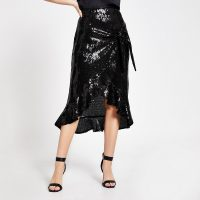 RIVER ISLAND Black sequin wrap frill midi skirt