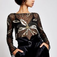 River Island Black sheer sequin embellished top