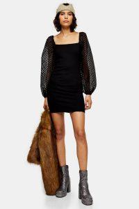 Topshop Black Spot Organza Mini Dress – sheer sleeved dresses