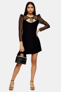 Topshop Black Spot Organza Sleeve Mini Dress