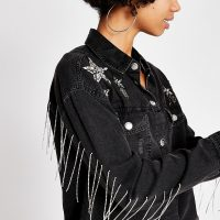 River Island Black star embellished denim shirt | fringed shirts