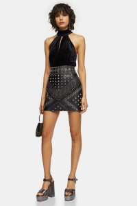 Topshop Black Studded Leather Mini Skirt | evening fashion | party wear