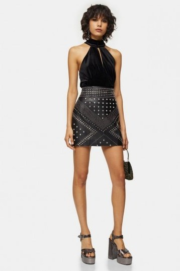 Topshop Black Studded Leather Mini Skirt | evening fashion | party wear - flipped