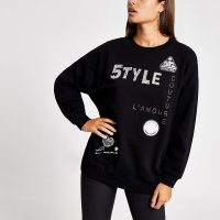 RIVER ISLAND Black '5TYLE' embellished sweatshirt / slogan sweat top