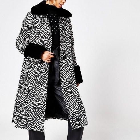 RIVER ISLAND Black zebra print faux fur trim swing coat / vintage style glamour / glamorous winter coats - flipped