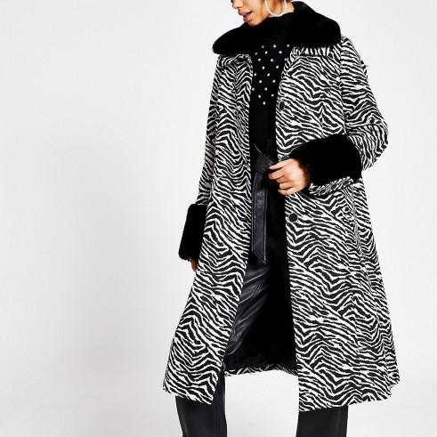 RIVER ISLAND Black zebra print faux fur trim swing coat / vintage style glamour / glamorous winter coats
