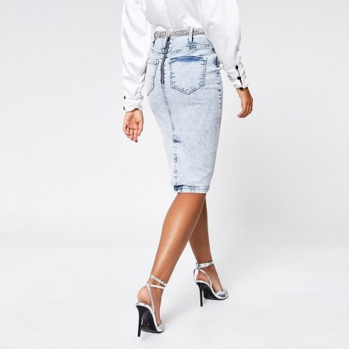 River Island Blue acid wash diamante belted pencil skirt - flipped