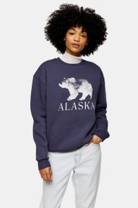 TOPSHOP Blue Alaska Bear Sweatshirt