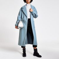River Island Blue balloon sleeve tie belted longline coat