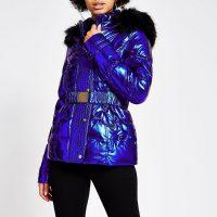 RIVER ISLAND Blue metallic belted padded jacket. HIGH SHINE WINTER JACKETS