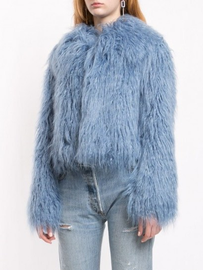 UNREAL FUR blue fitted textured jacket ~ shaggy winter jackets - flipped