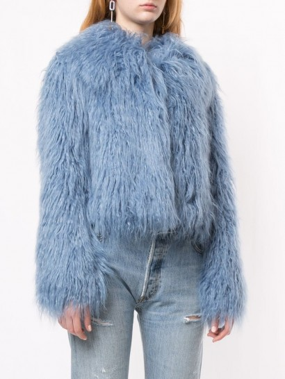 UNREAL FUR blue fitted textured jacket ~ shaggy winter jackets