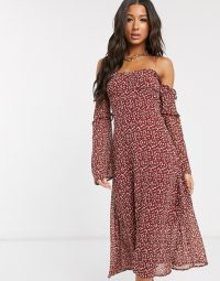 Boohoo bardot midi dress with flare sleeves in red ditsy floral / semi sheer off the shoulder dresses