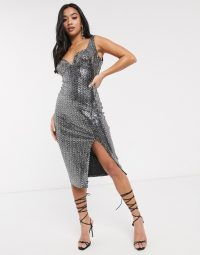 Boohoo Petite exclusive plunge bodycon midi dress with thigh split in black shimmer | metallic party dresses
