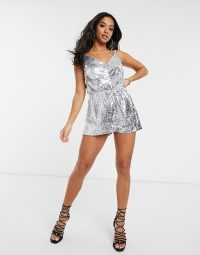 Boohoo Petite sequin cami playsuit in silver | strappy party playsuits