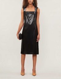 BOTTEGA VENETA Square-neck faux-leather midi dress in black