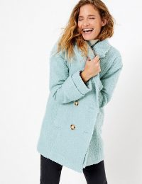 PER UNA Boucle Double Breasted Peacoat in Dusty Blue ~ textured coats