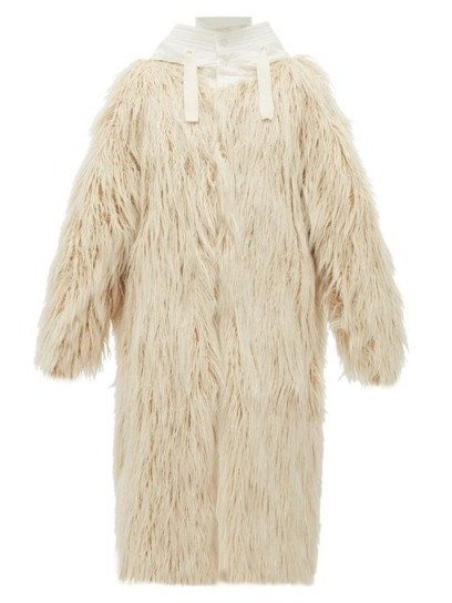 MONCLER Bouregreg faux-shearling overlay quilted coat in cream ~ shaggy winter coats - flipped