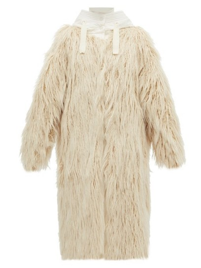 MONCLER Bouregreg faux-shearling overlay quilted coat in cream ~ shaggy winter coats