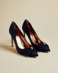 Ted Baker ASELLYS Bow detail courts in navy ~ blue occasion court shoes