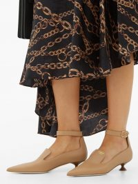 BURBERRY Brecon point-toe leather pumps in beige ~ pointy toes ~ low heel ankle strap courts