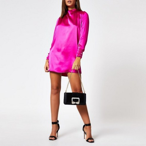 RIVER ISLAND Bright pink button shoulder satin swing dress – going out dresses - flipped