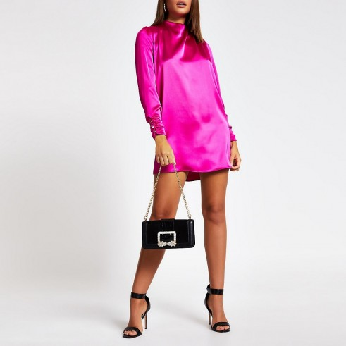 RIVER ISLAND Bright pink button shoulder satin swing dress – going out dresses
