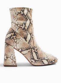 MISS SELFRIDGE BROOKLYN Natural Sock Ankle Boots. BLOCK HEEL BOOT
