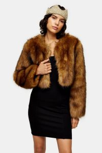 Topshop Brown Cropped Faux Fur Coat | vintage style winter jackets