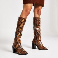 RIVER ISLAND Brown leather snake print knee high boots