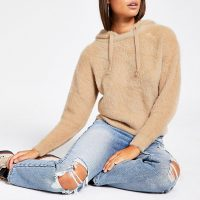 RIVER ISLAND Brown long sleeve fluffy knit hoodie