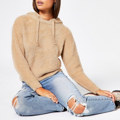 RIVER ISLAND Brown long sleeve fluffy knit hoodie - flipped
