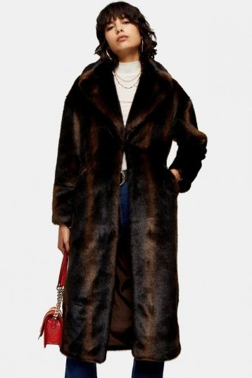 TOPSHOP Brown Luxe Faux Fur Coat / vintage style winter coats - flipped
