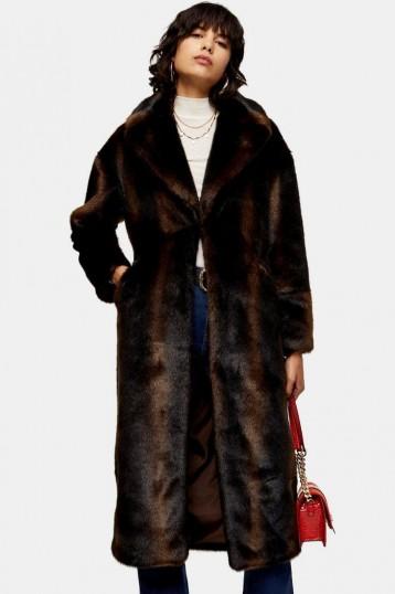TOPSHOP Brown Luxe Faux Fur Coat / vintage style winter coats