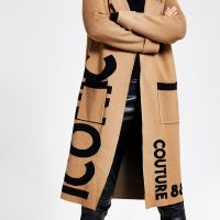 RIVER ISLAND Brown printed longline knitted duster coat / slogan knits