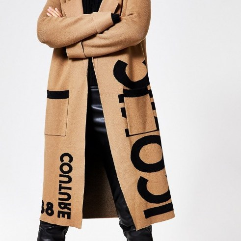 RIVER ISLAND Brown printed longline knitted duster coat / slogan knits - flipped