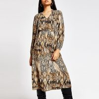 RIVER ISLAND Brown snake printed tie V neck midi dress