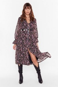 NASTY GAL Bud First Tequila Floral Midi Dress in Black