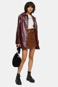TOPSHOP Burgundy Crinkle PU Coat / shiny dark red coats