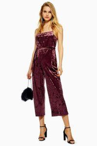 Topshop Burgundy Velvet All In One Jumpsuit – luxury look party wear