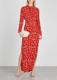 BYTIMO Gathers red floral-print maxi dress ~ long side split dreses