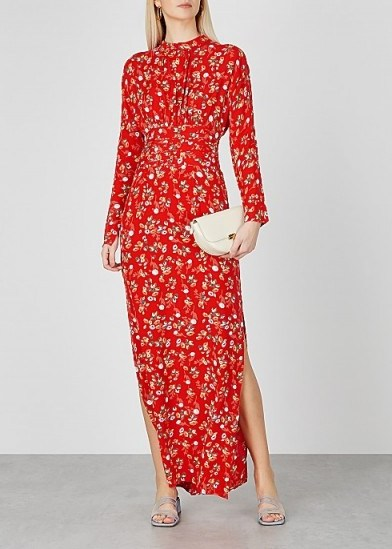 BYTIMO Gathers red floral-print maxi dress ~ long side split dreses - flipped