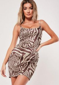 MISSGUIDED camel zebra print stretch satin bodycon mini dress